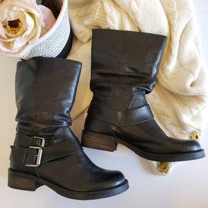 MATISSE | Bobby Moto Mid Calf Boot Black Leather